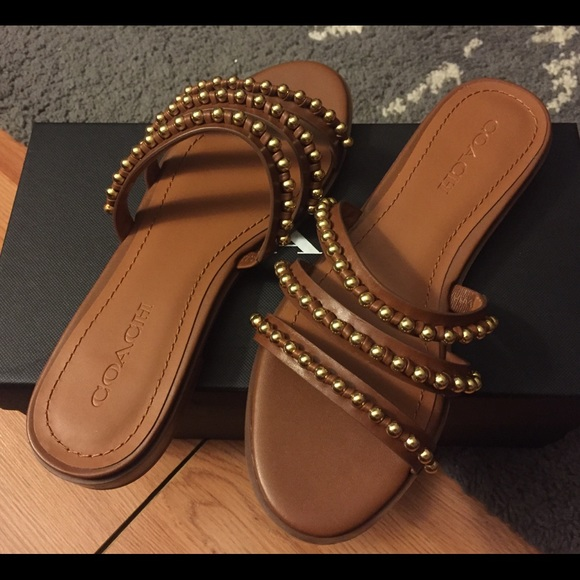 245ff1dd6b5b NEW Coach Slide Sandals - Brown - Size 37 EU  7 US